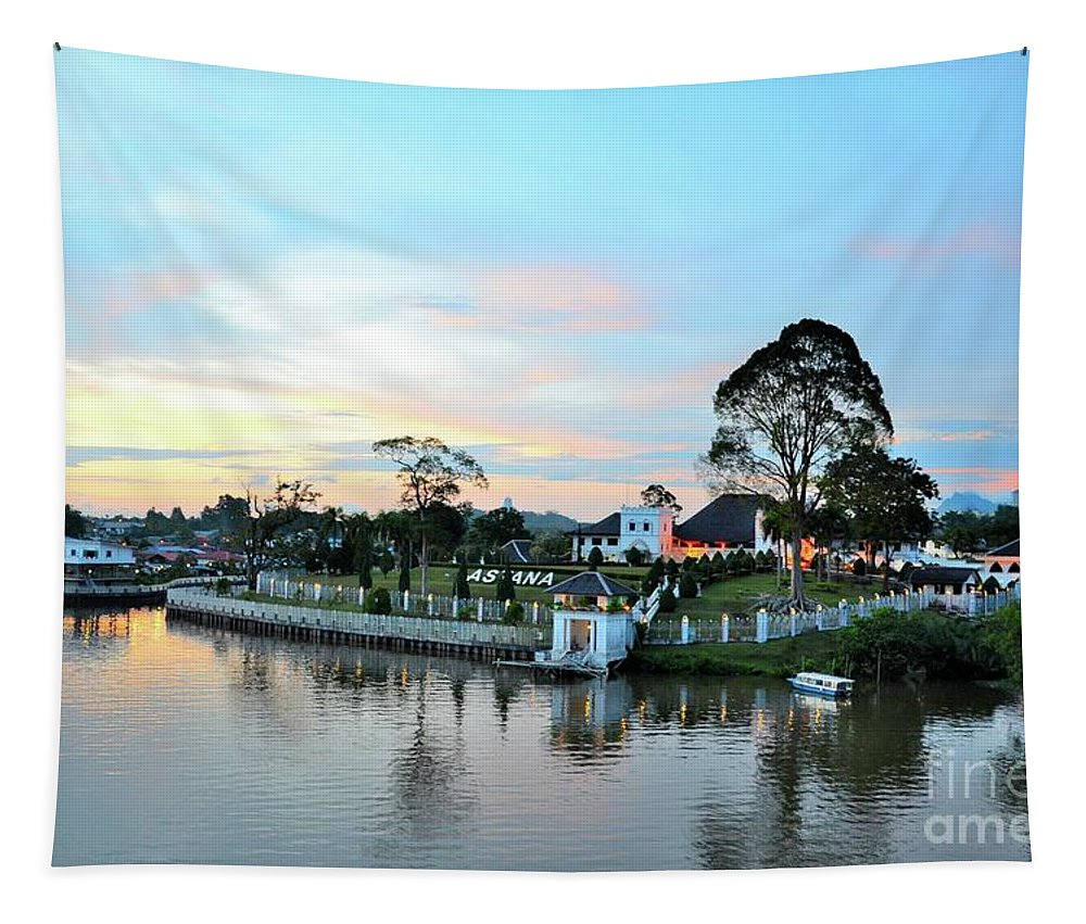 Water Tapestry featuring the photograph The Sarawak Astana Governor Palace Mansion On Sarawak Riverwaterfront Kuching East Malaysia by Imran Ahmed