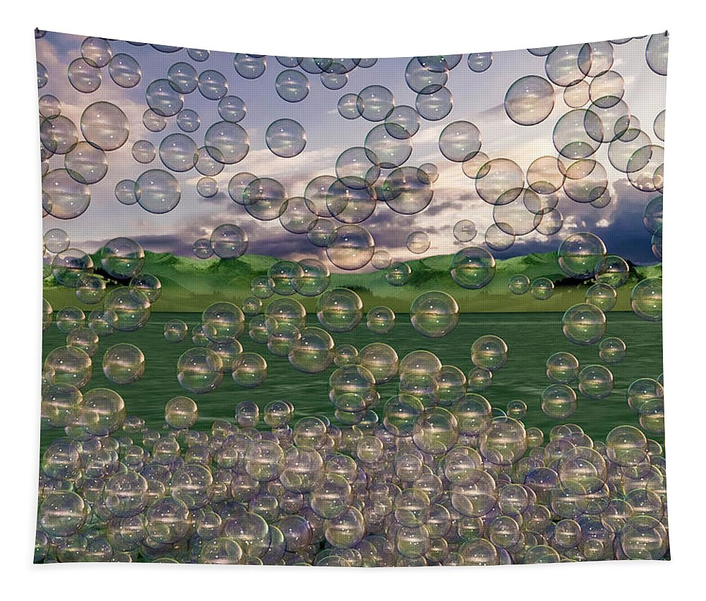 Bubble Tapestry featuring the digital art The Simplicity Of Bubbles by Betsy Knapp