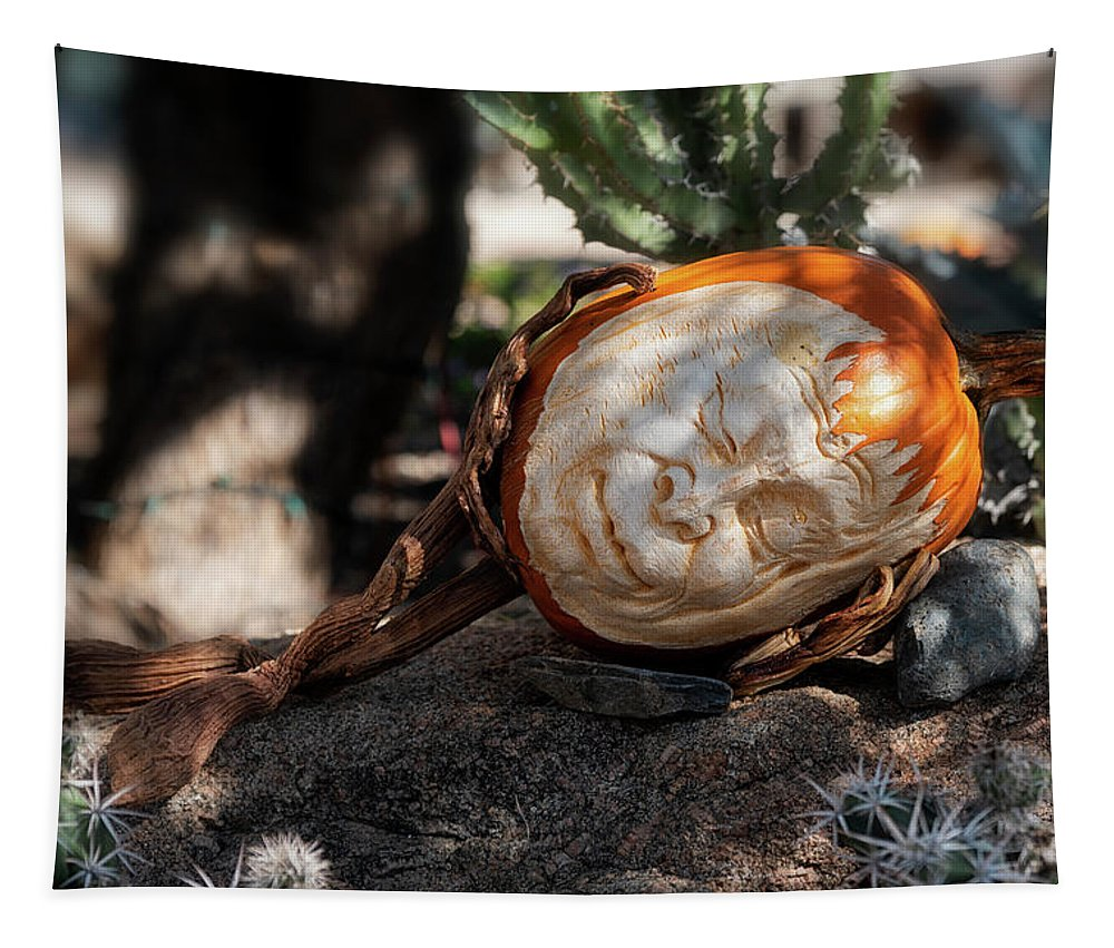 Pumpkinman Tapestry featuring the photograph The Sleeping Pumpkinman by Saija Lehtonen