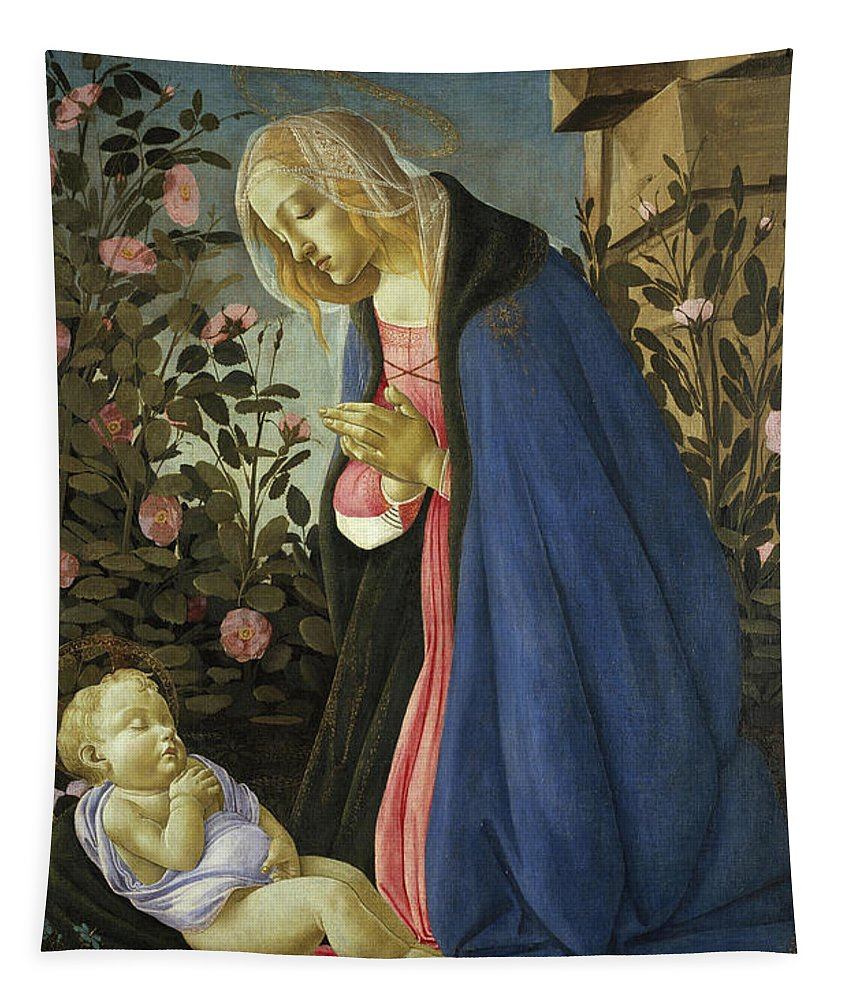 Sandro Botticelli Tapestry featuring the painting The Virgin Adoring The Sleeping Christ Child by Sandro Botticelli