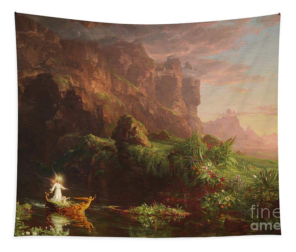 Thomas Cole Tapestry featuring the painting The Voyage Of Life Childhood, 1842 by Thomas Cole