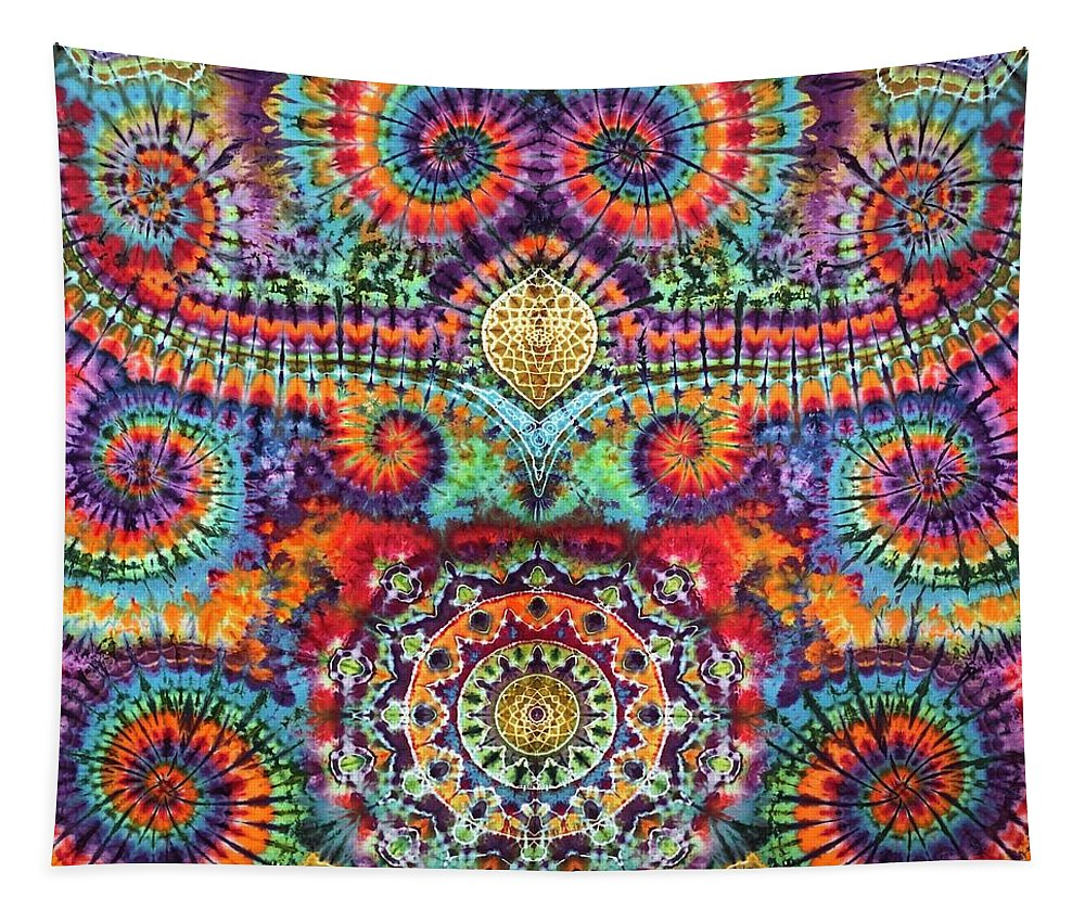 Rob Norwood Tie Dye Psychedelic Art Sacred Geometry Tapestry featuring the tapestry - textile The Wheel by Rob Norwood