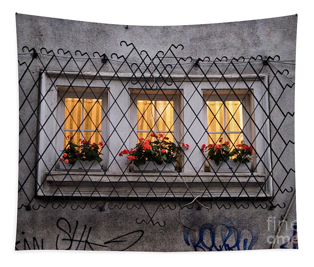 Street Tapestry featuring the photograph The Windows Of Sofia by Yavor Mihaylov