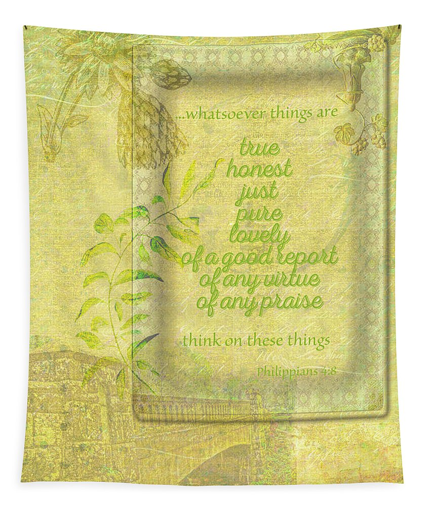 Scripture Tapestry featuring the photograph Things To Think About by Larry Bishop
