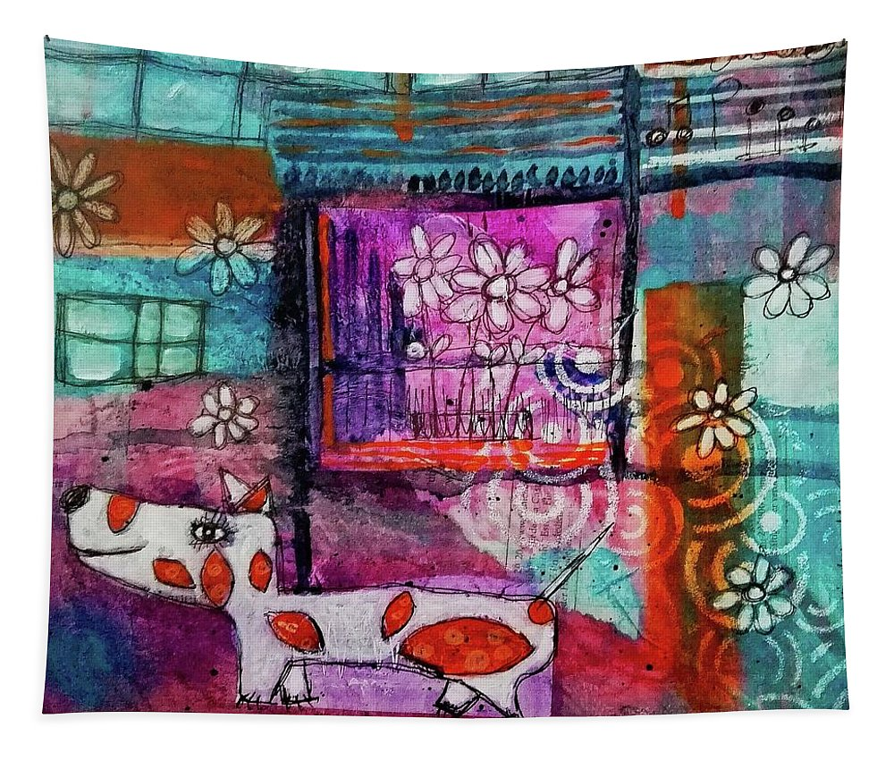 Dog Tapestry featuring the mixed media Thinking Happy Thoughts by Mimulux patricia No