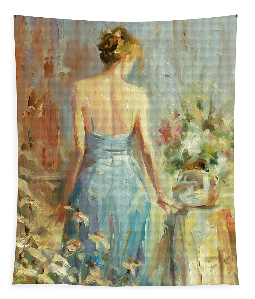 Woman Tapestry featuring the painting Thoughtful by Steve Henderson