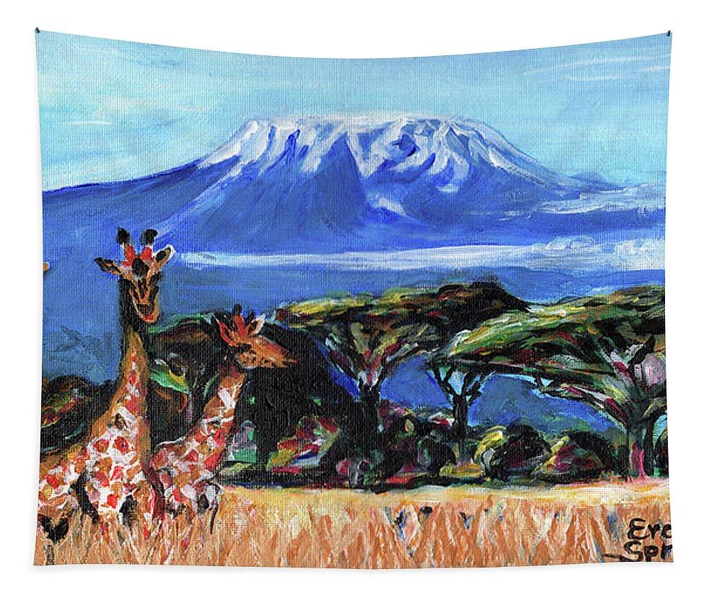 Everett Spruill Tapestry featuring the painting Three Giraffes by Everett Spruill