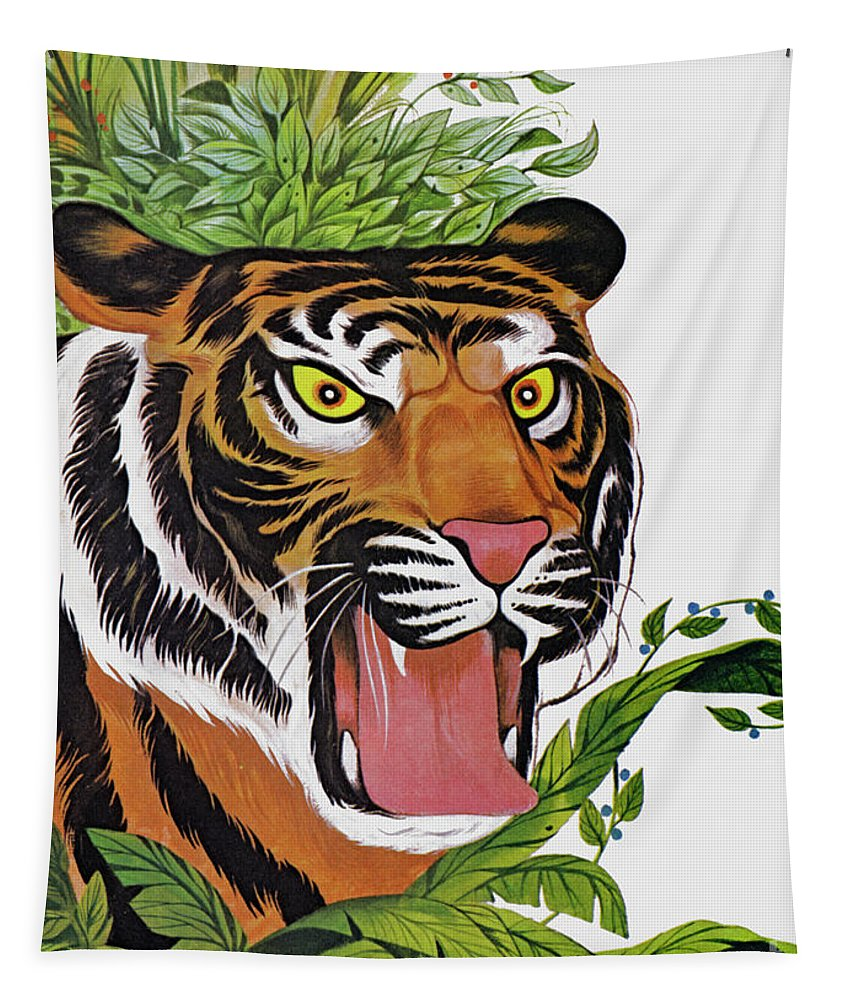Tiger Tapestry featuring the painting Tiger, Tiger, Burning Bright by Richard Hook