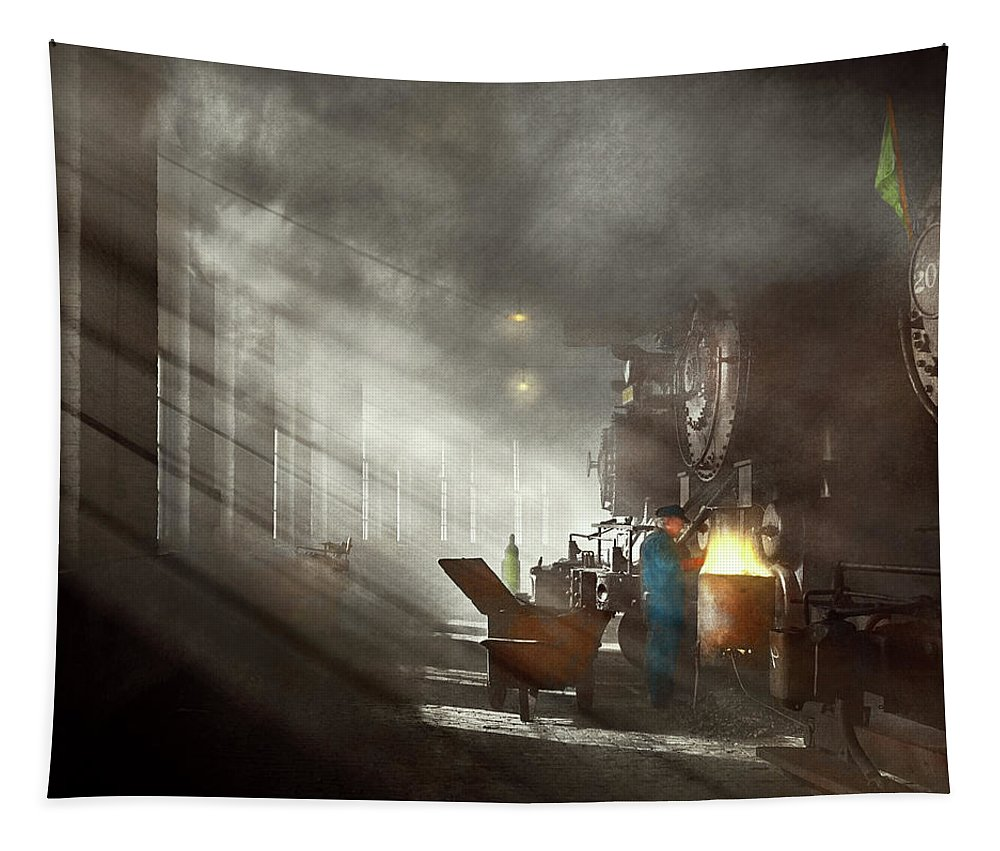 Train Art Tapestry featuring the photograph Train - Repair - Smoking Section 1942 by Mike Savad