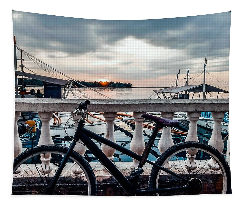 Bike Tapestry featuring the photograph Traveller's point by Dynz Abejero