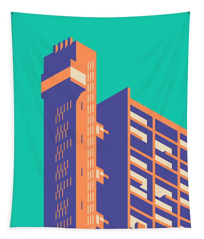 Trellick Tapestry featuring the digital art Trellick Tower London Brutalist Architecture - Plain Green by Ivan Krpan