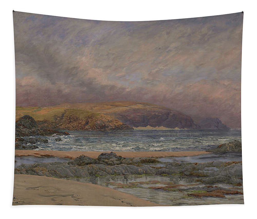 Seascape Tapestry featuring the painting Trevose Head by John Brett
