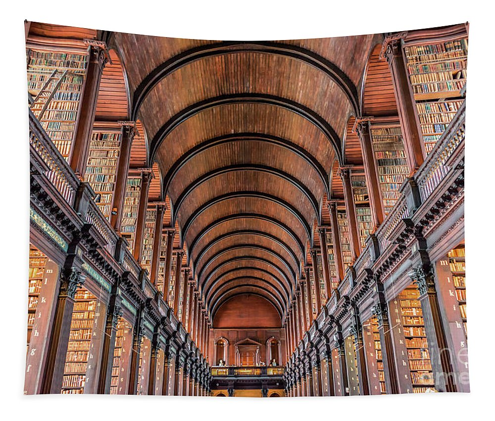 Library Tapestry featuring the photograph Trinity College Library In Dublin by Delphimages Photo Creations