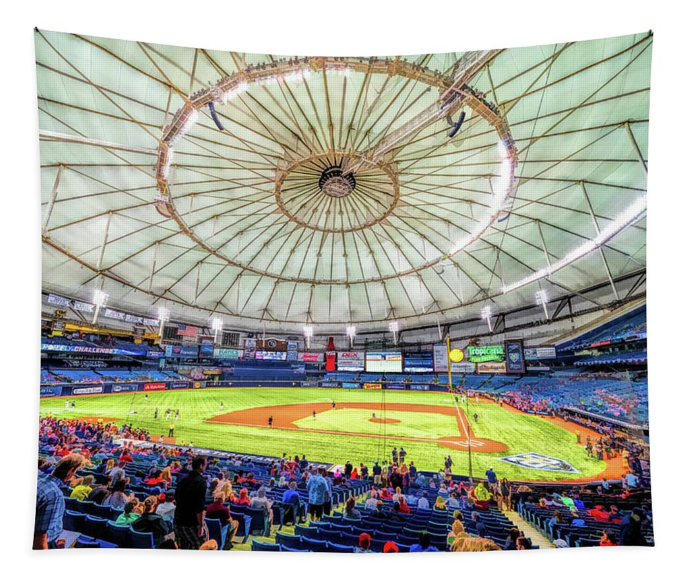 Tropicana Field Tapestry featuring the painting Tropicana Field Tampa Bay Rays Baseball Ballpark Stadium by Christopher Arndt
