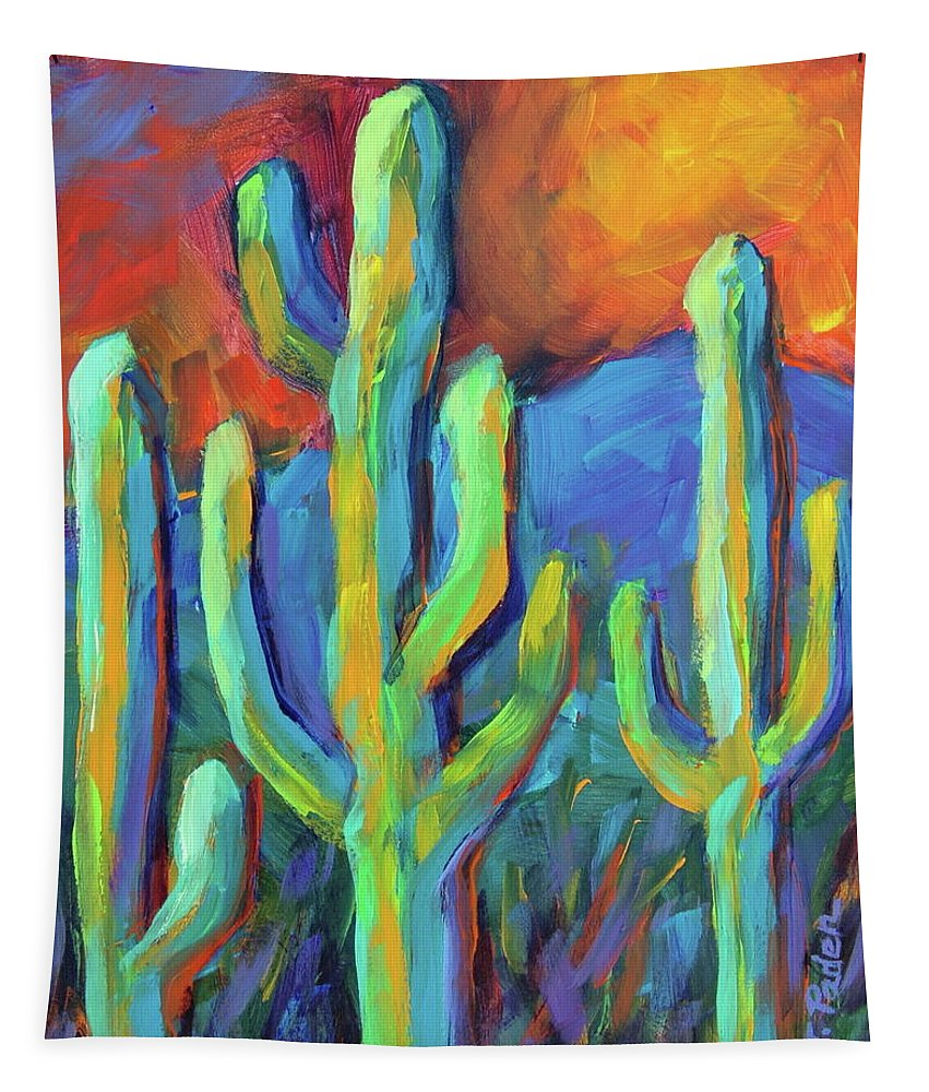Cactus Tapestry featuring the painting Tucson Saguaros by Theresa Paden