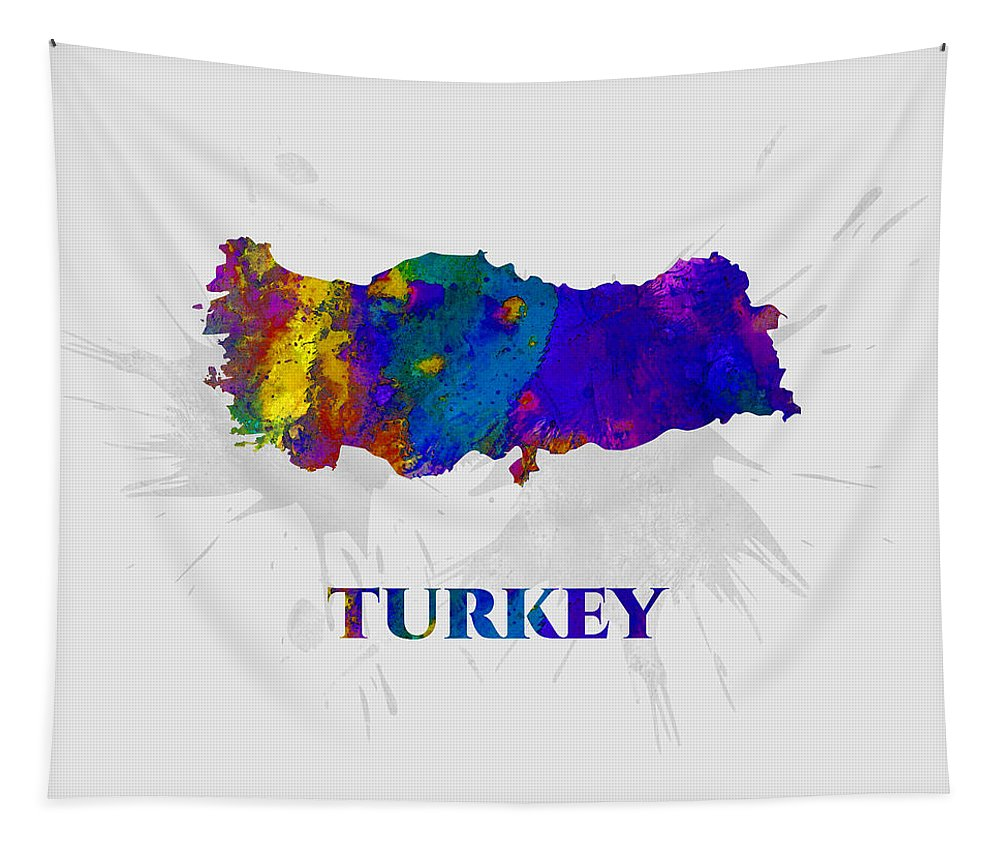 Turkey Tapestry featuring the mixed media Turkey, Map, Artist Singh by Artist Singh MAPS