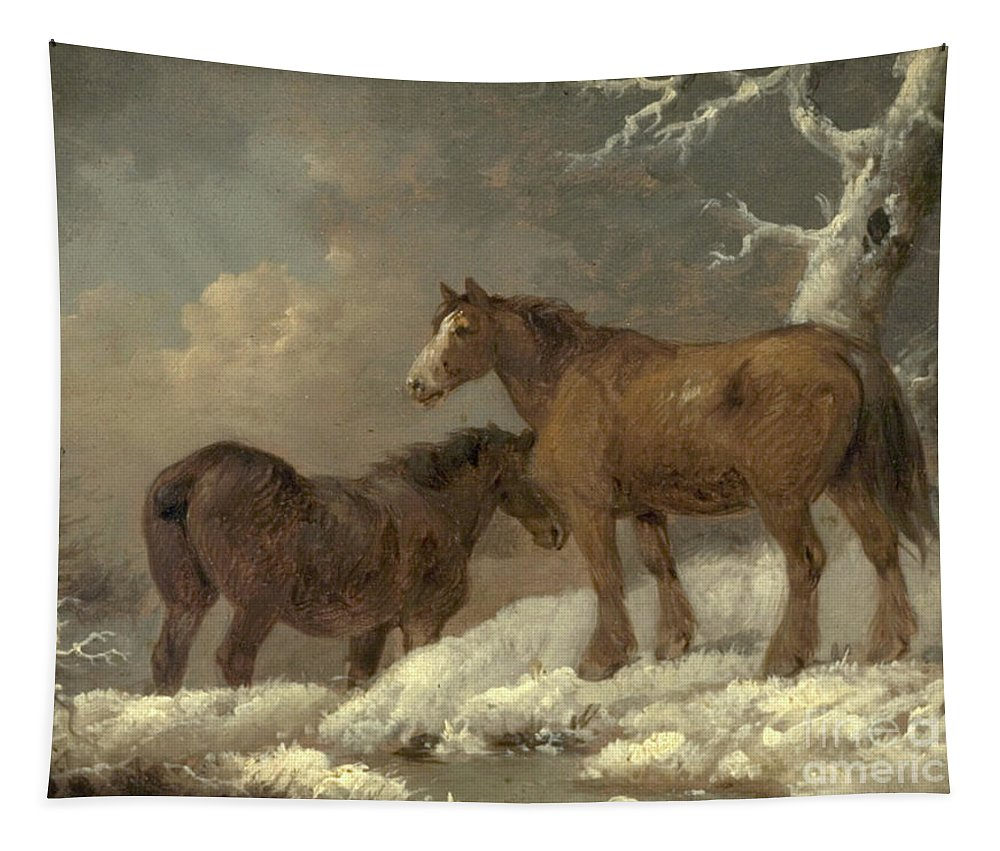 Morland Tapestry featuring the painting Two Horses In The Snow by George Morland