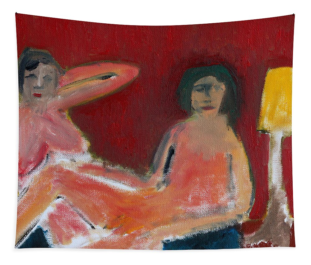 Nudes Tapestry featuring the painting Two Nudes By A Lamp by Edgeworth DotBlog