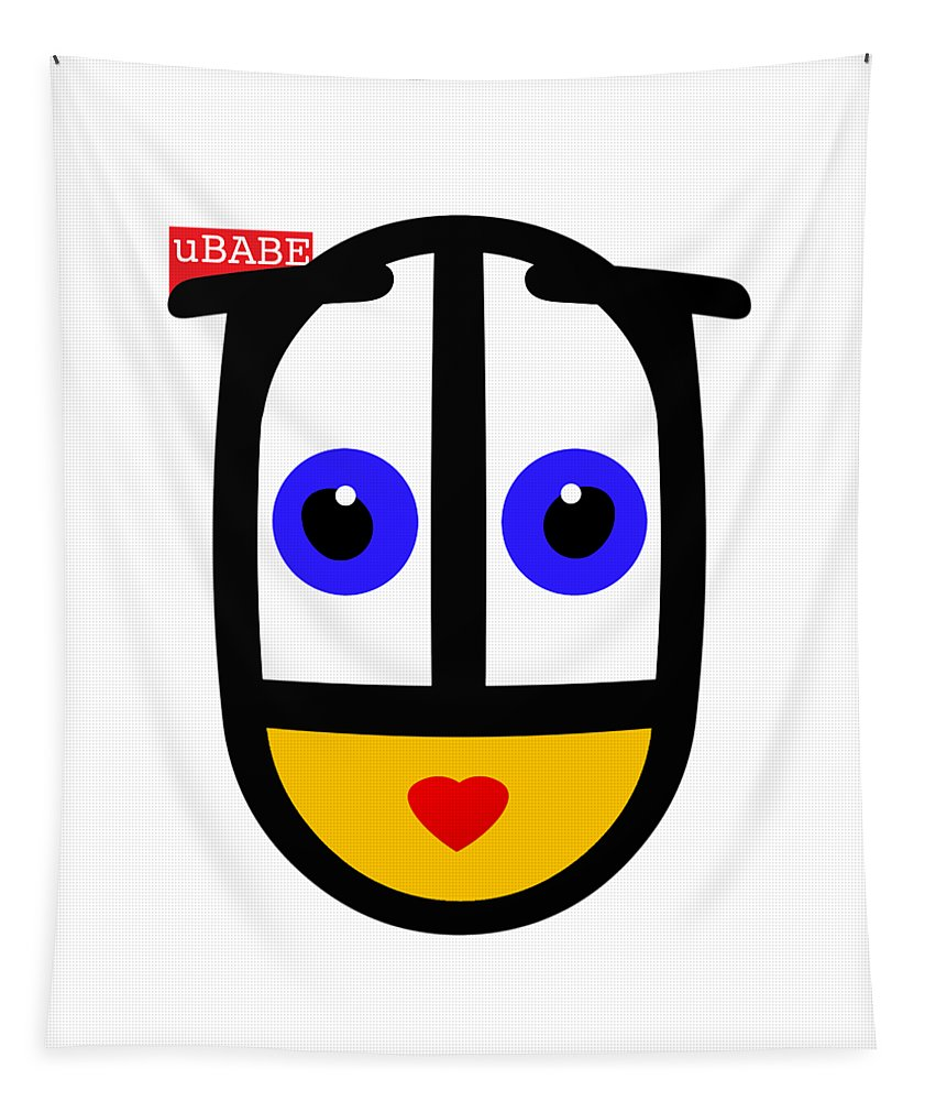Ubabe Face Tapestry featuring the digital art uBABE Logo by Ubabe Style