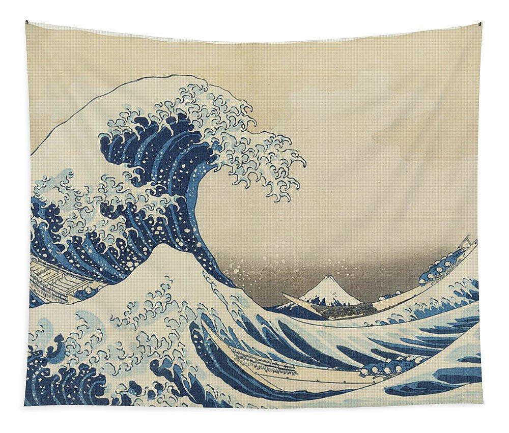 Katsushika Hokusai Tapestry featuring the painting Under the Wave off Kanagawa, 1833 by Katsushika Hokusai