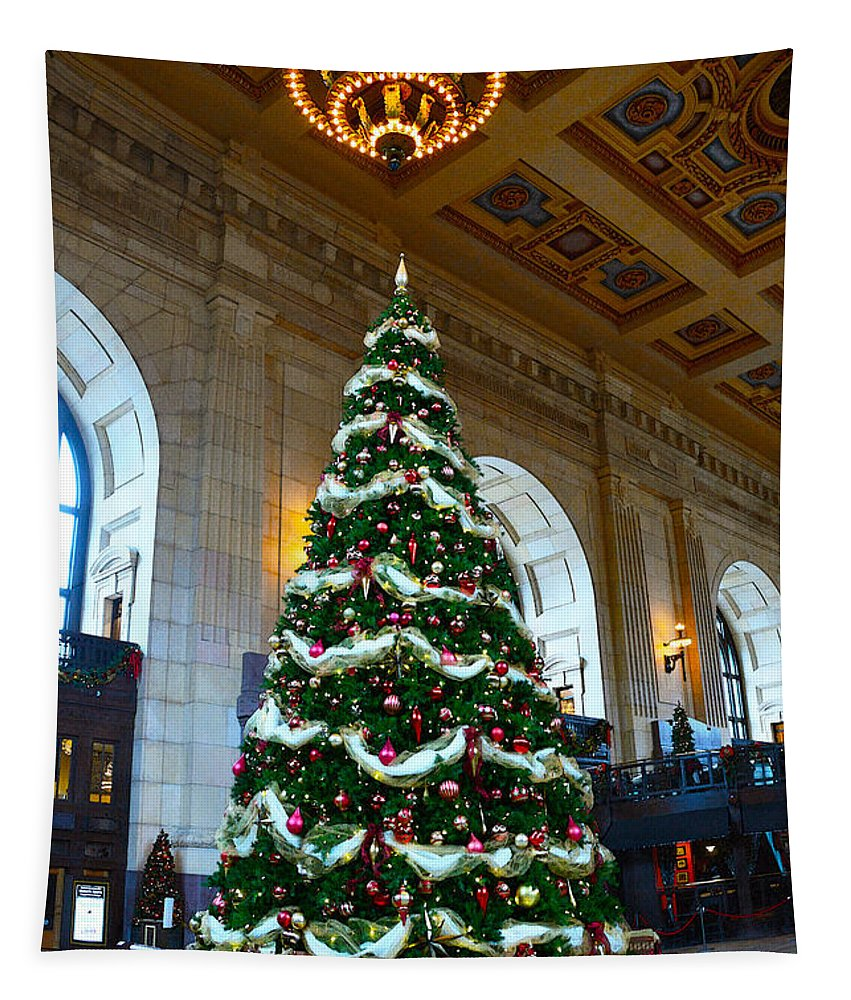 Union Station Tapestry featuring the photograph Union Station Decorates For Christmas In Kansas City by Catherine Sherman