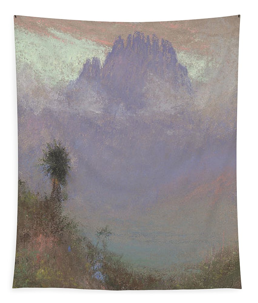 Mountainous Tapestry featuring the painting Untitled Mountain Landscape, 1920, Pastel by Charles Franklin Reaugh