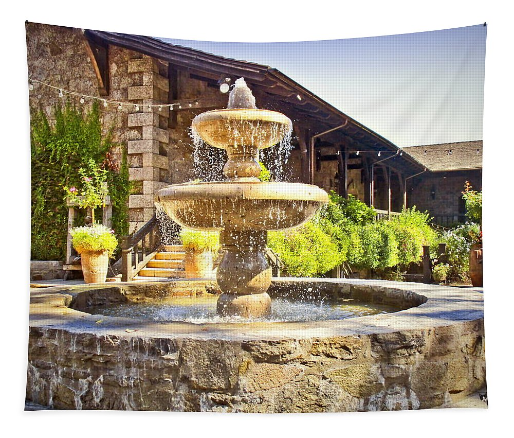 V-sattui Tapestry featuring the photograph V Sattui Winery 2 by Joyce Dickens