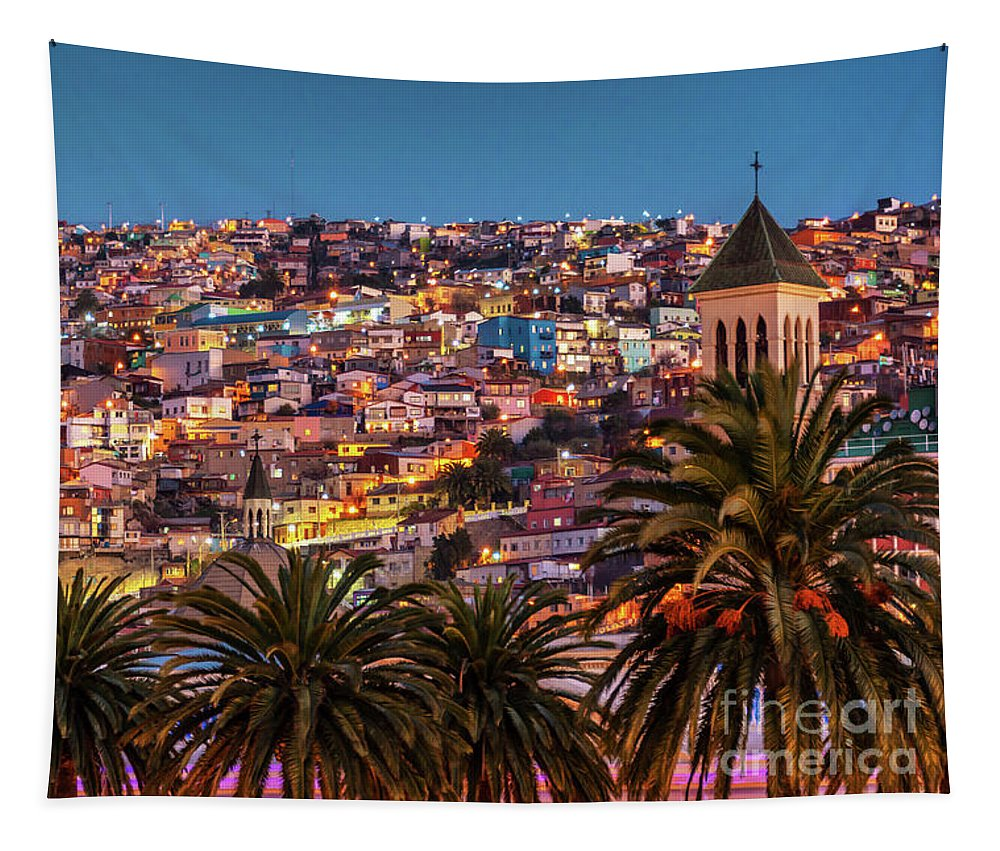 Valparaiso Tapestry featuring the photograph Valparaiso Illuminated At Night by Delphimages Photo Creations
