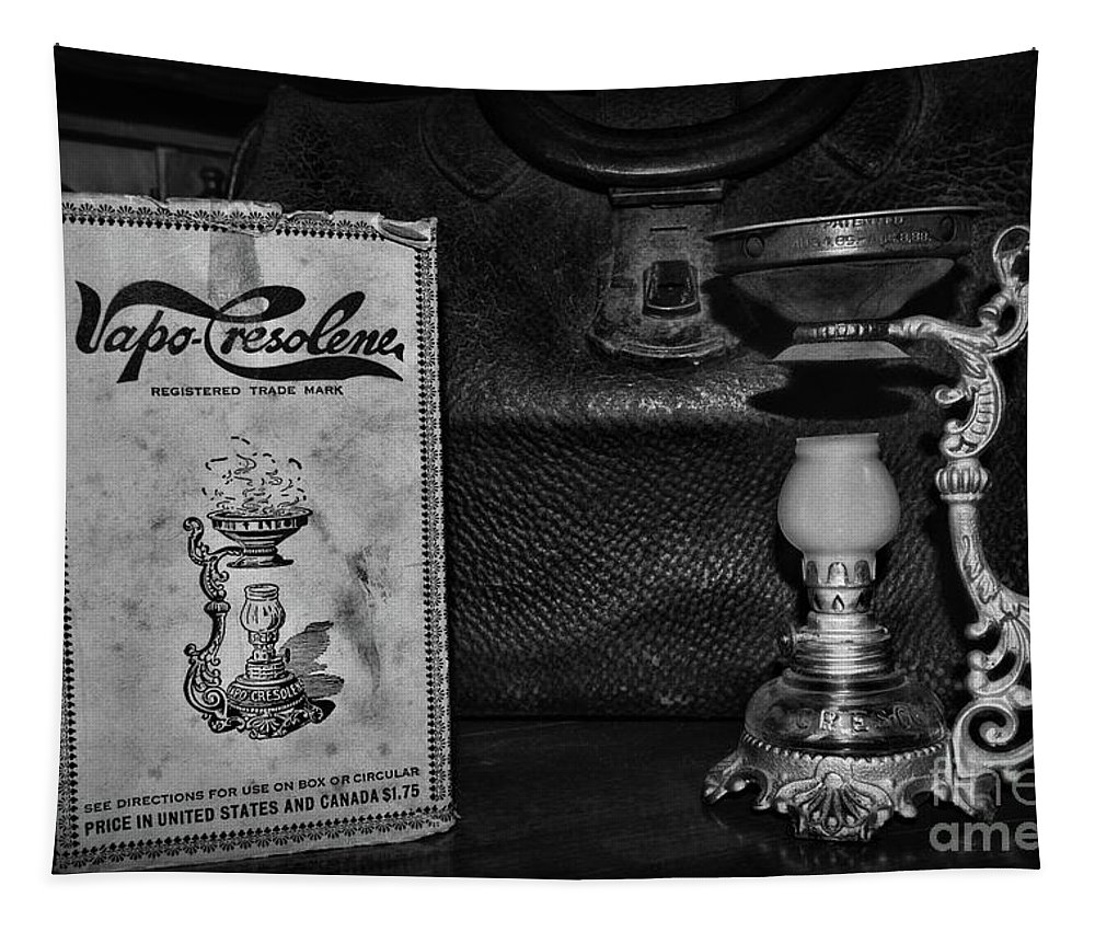 Paul Ward Tapestry featuring the photograph Vapo-cresolene Vaporizer Respiratory Remedy Black And White by Paul Ward