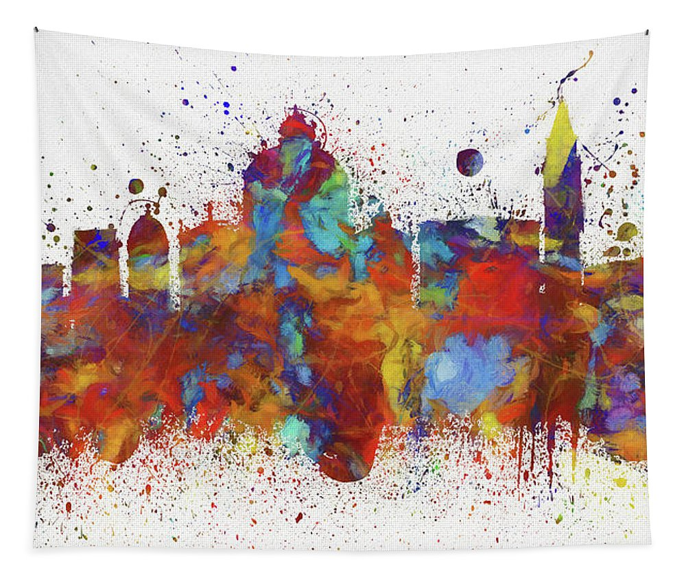 Venice Colorful Skyline Tapestry featuring the painting Venice Colorful Skyline by Dan Sproul