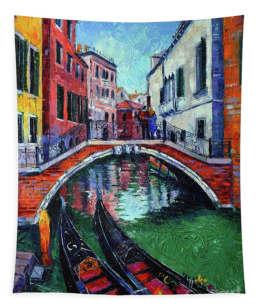 Venice romance tapestry featuring the painting venice romance impressionist modern palette knife oil painting cityscape by