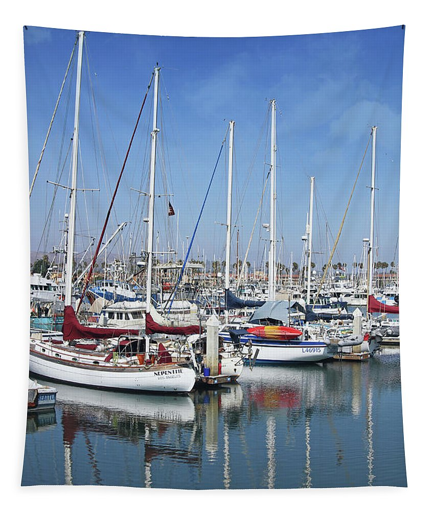 Harbor Tapestry featuring the photograph Ventura Harbor By Linda Woods by Linda Woods