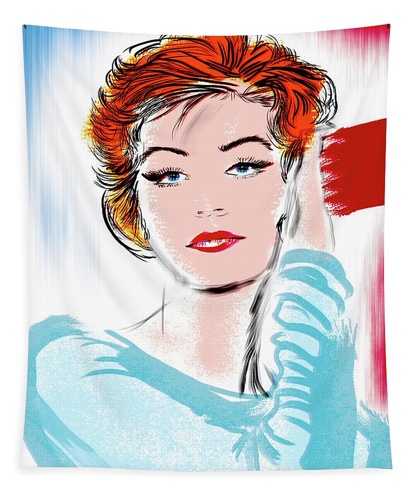 Portrait Tapestry featuring the digital art vibrant Anouk by Lawrence O'Toole