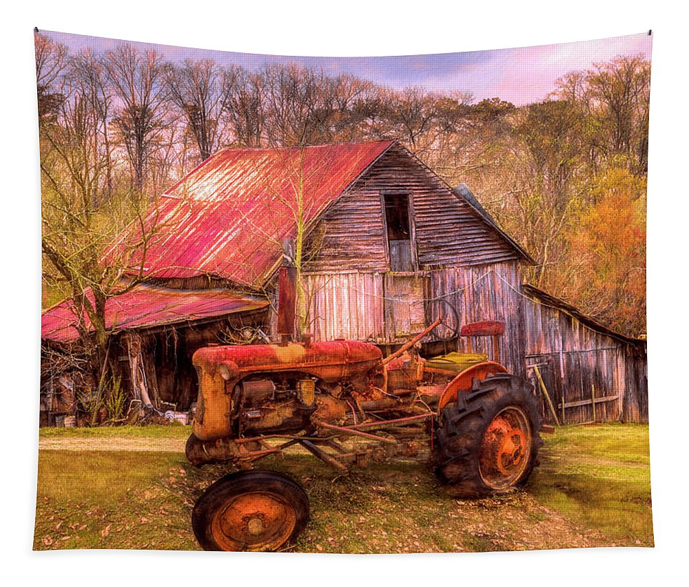 Barn Tapestry featuring the photograph Vintage At The Farm Watercolors Painting by Debra and Dave Vanderlaan