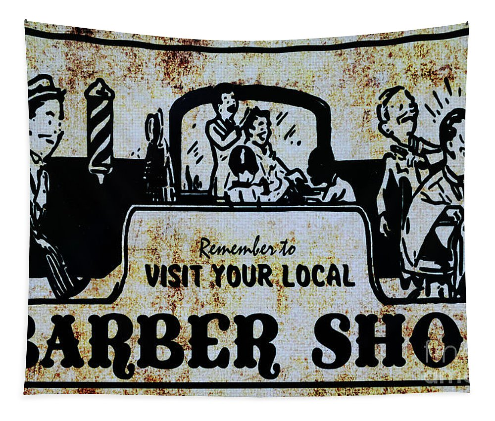 Paul Ward Tapestry featuring the photograph Vintage Barber Sign From The 1950s by Paul Ward