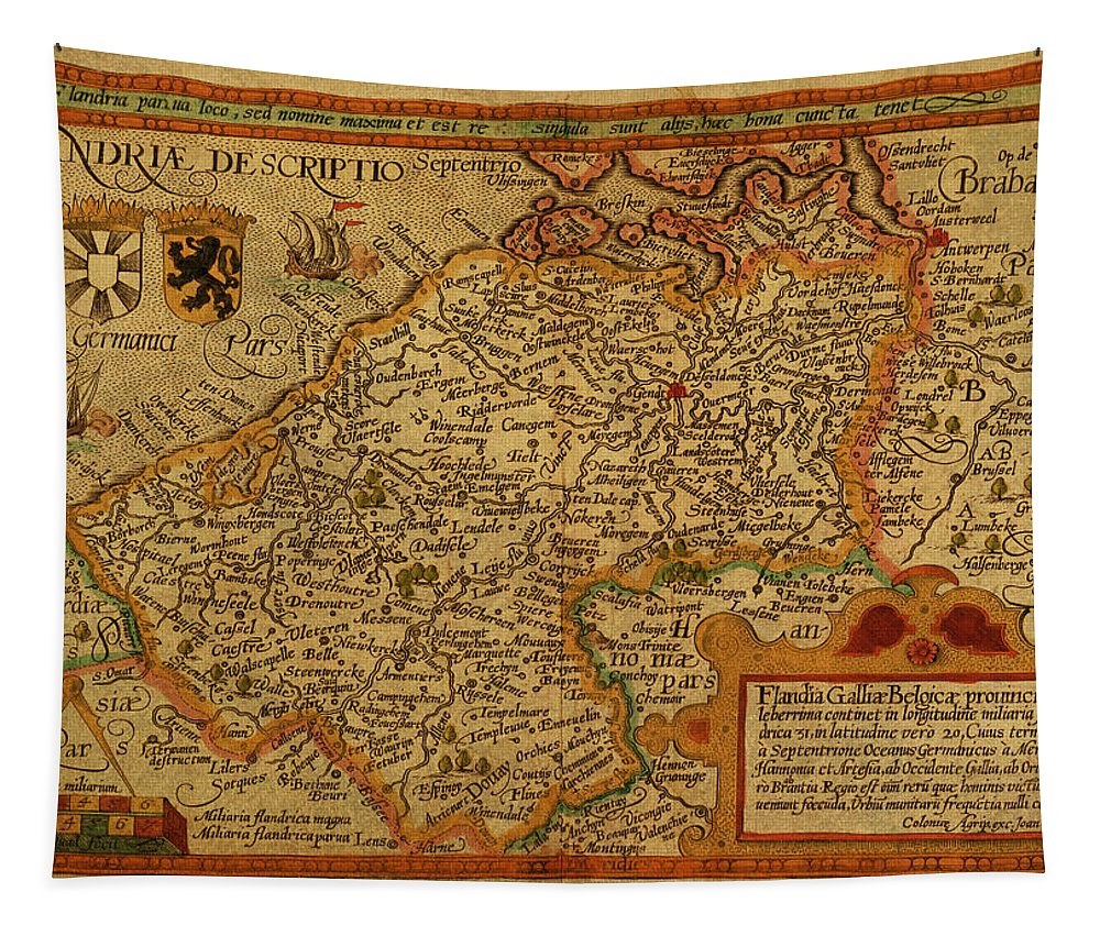 Vintage Tapestry featuring the mixed media Vintage Map Of Belgium And Flanders by Design Turnpike