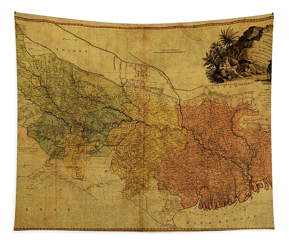 Vintage Tapestry featuring the mixed media Vintage Map Of Bengal by Design Turnpike