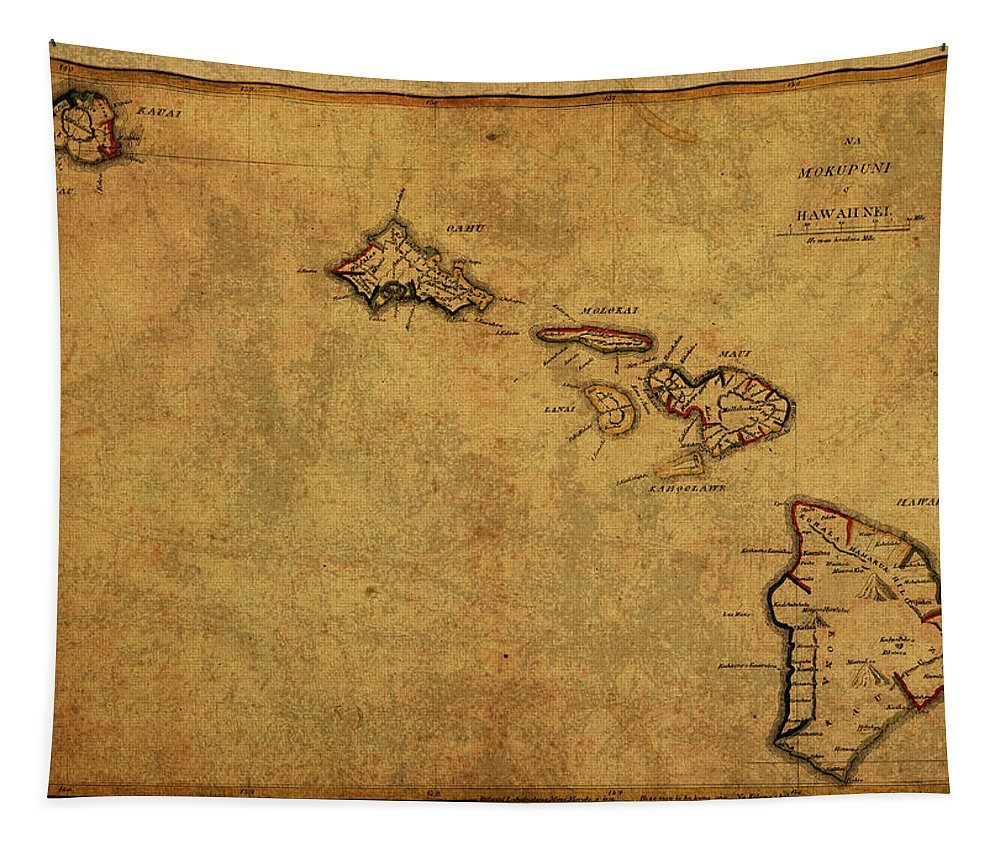 Vintage Tapestry featuring the mixed media Vintage Map Of Hawaii 1837 by Design Turnpike
