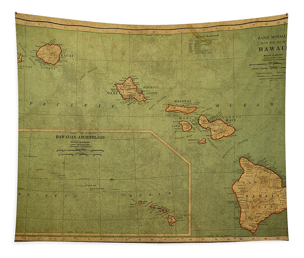 Vintage Tapestry featuring the mixed media Vintage Map Of Hawaii by Design Turnpike