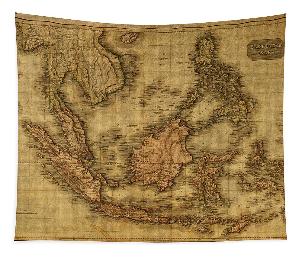 Vintage Tapestry featuring the mixed media Vintage Map Of Indonesia 1818 by Design Turnpike
