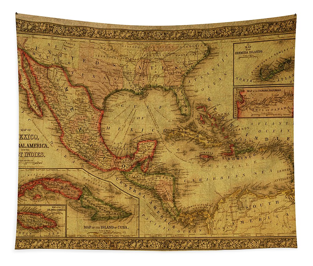 Vintage Tapestry featuring the mixed media Vintage Map Of Mexico by Design Turnpike