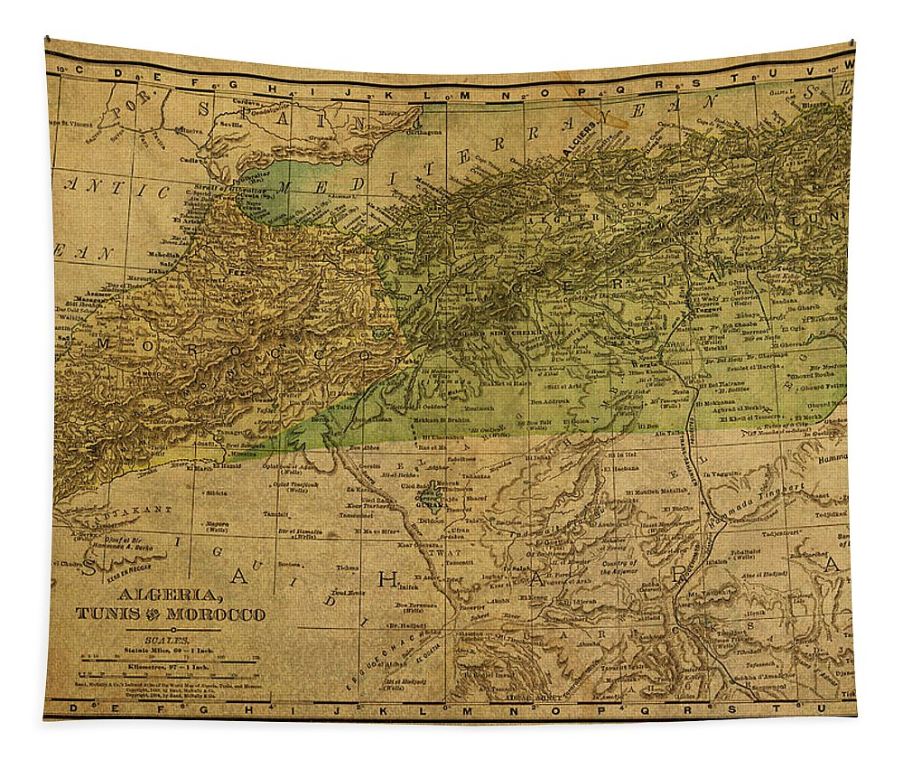 Vintage Tapestry featuring the mixed media Vintage Map Of North Africa Including Morocco Algeria And Tunisia 1901 by Design Turnpike