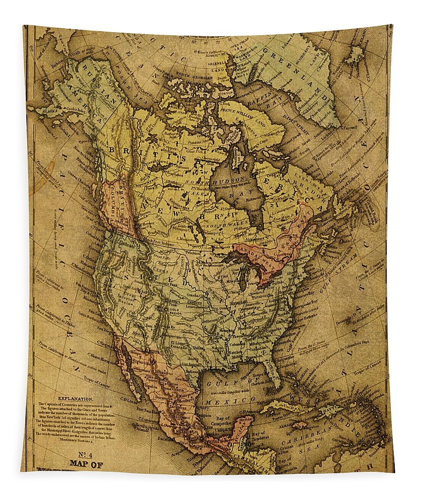 Vintage Tapestry featuring the mixed media Vintage Map Of North America 1858 by Design Turnpike