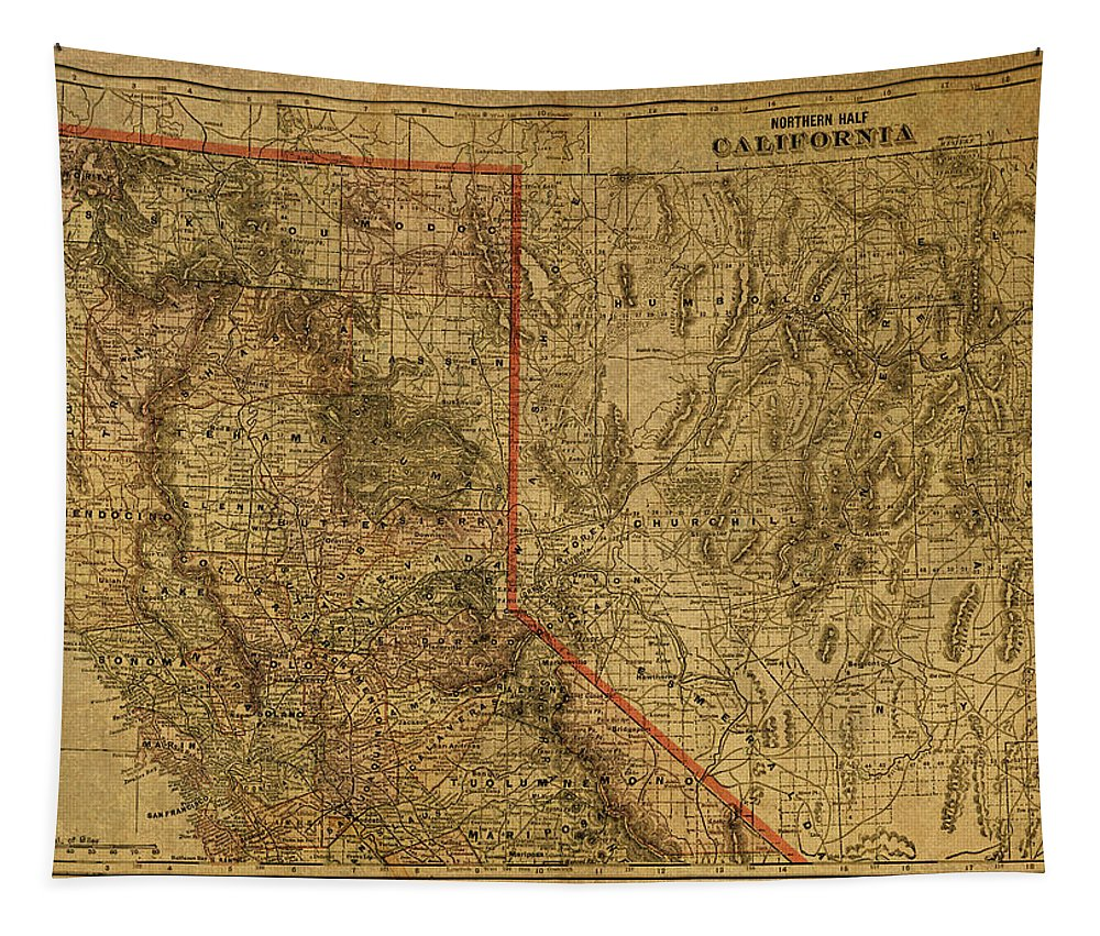 Vintage Tapestry featuring the mixed media Vintage Map Of Northern California by Design Turnpike