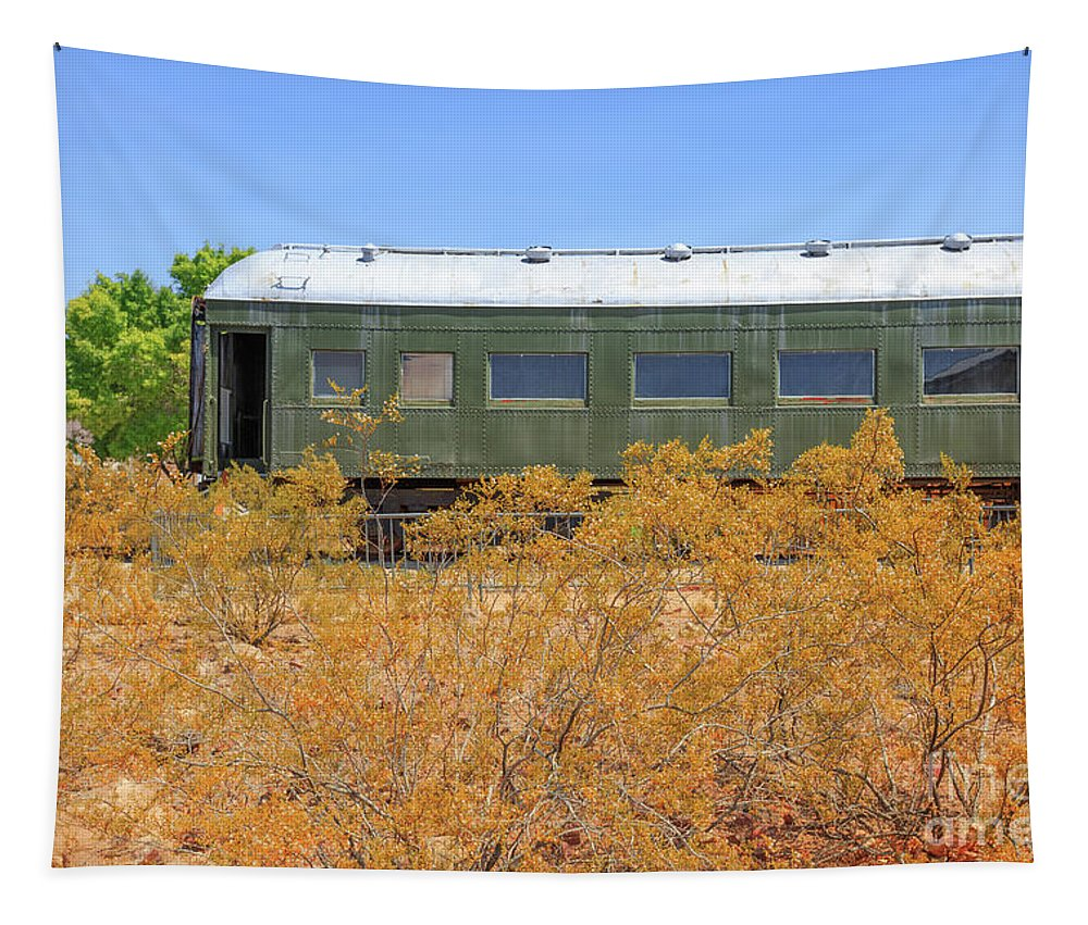 Train Tapestry featuring the photograph Vintage Passenger Train Car In The Desert by Edward Fielding