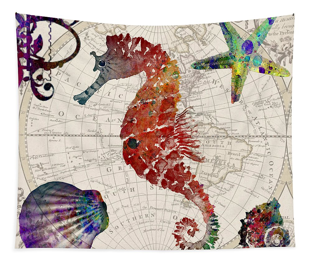 Vintage Tapestry featuring the digital art Vintage Seahorse by Mark Ashkenazi