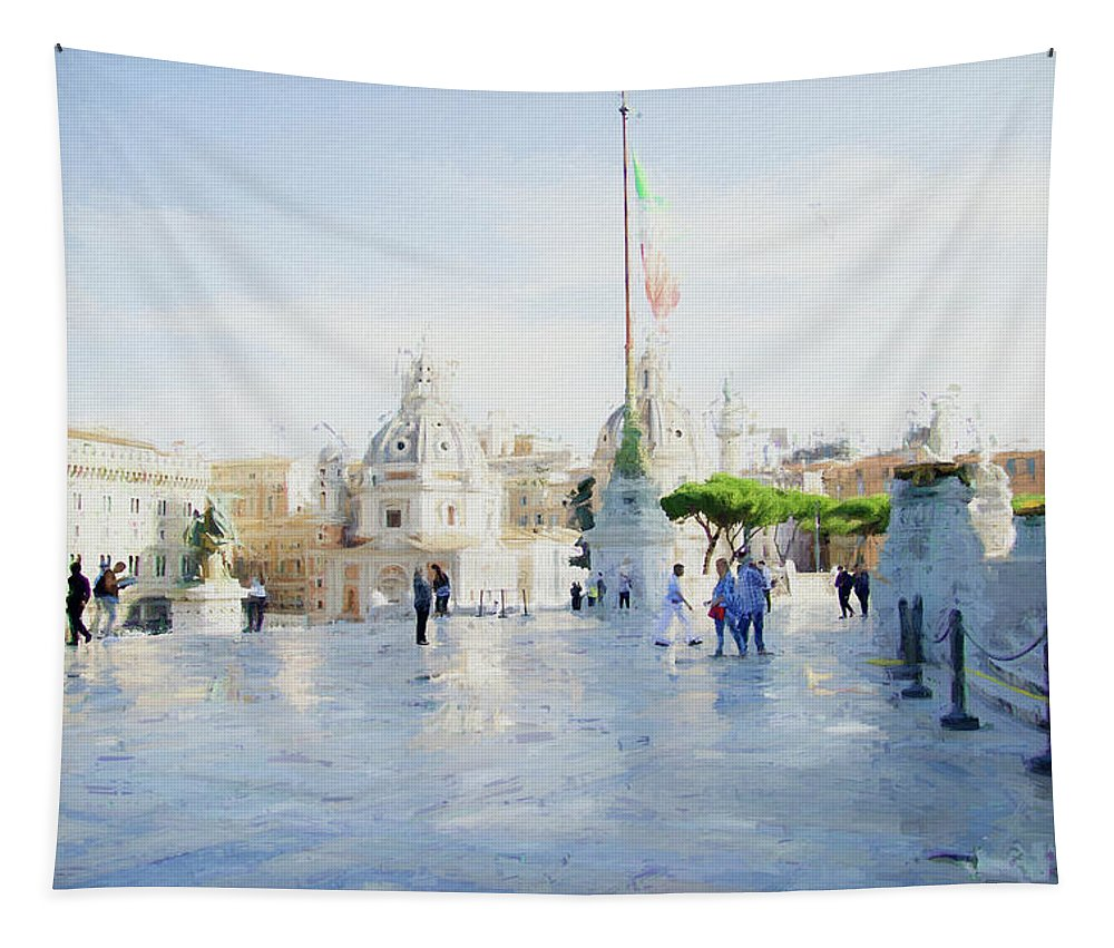 Photography Tapestry featuring the digital art Vittorio Emanuele In Rain by Terry Davis
