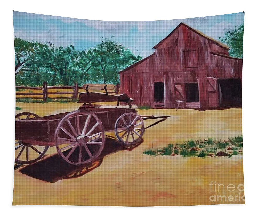 Tapestry featuring the painting Wagons And Barns by Jill DeFinis