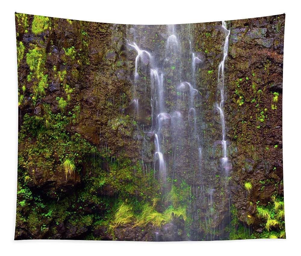 Maui Tapestry featuring the photograph Waimoku Falls by Christopher Johnson