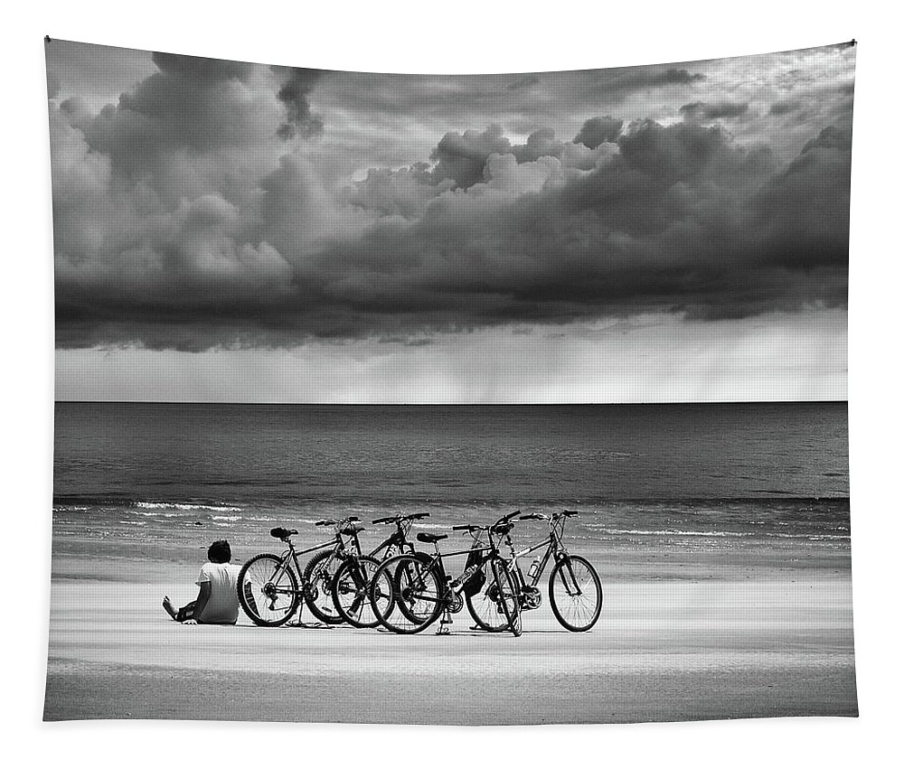 Bicycles Tapestry featuring the photograph Waiting At The Edge Of The World by Laura Fasulo